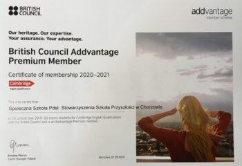 1. Cambridge English Qualifications - certyfikat udziału w programie Addvantage member scheme