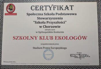 1. Certyfikat Szkolnego Klubu Ekologicznego