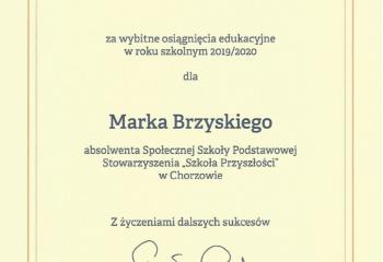 Marek Brzyski dyplom MEN